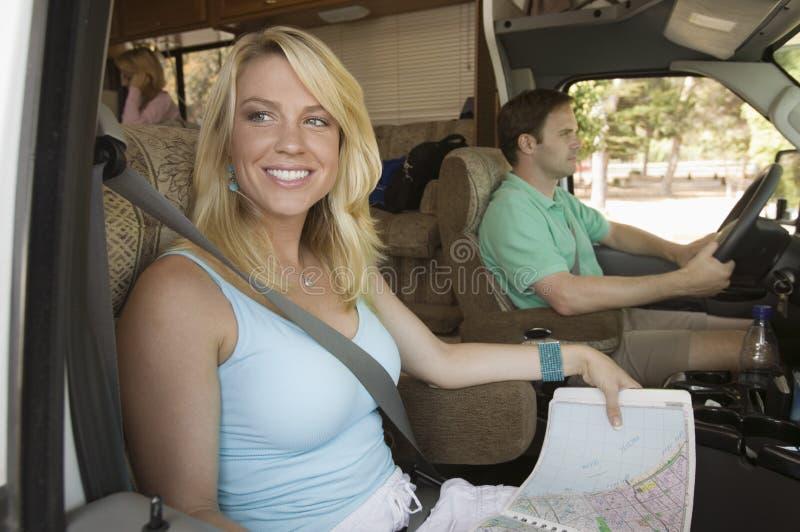 家庭在RV的旅行 免版税库存图片