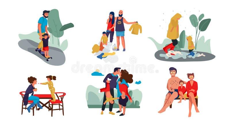 家庭场面 愉快的父母和儿童时髦卡通人物一起花费时间的在家和室外 ?? 向量例证