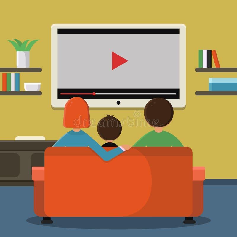 家庭坐沙发和观看的数字电视在大屏幕上 向量例证
