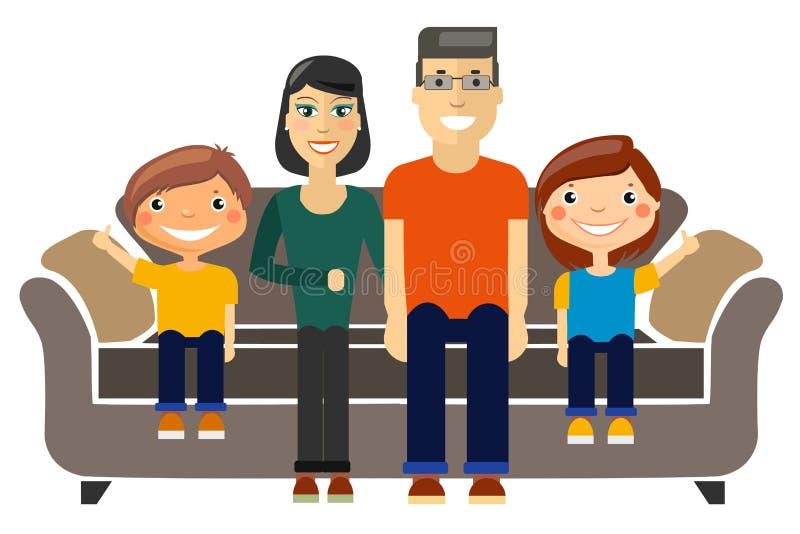 年轻家庭坐沙发 向量例证