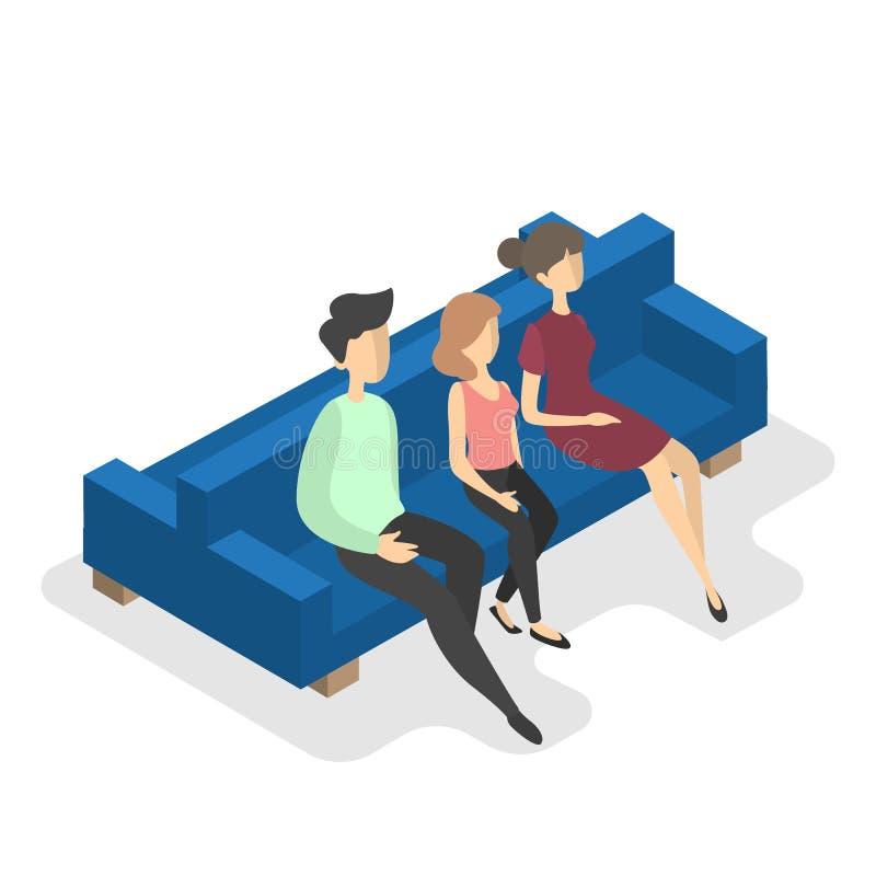 家庭坐等量蓝色的长沙发 皇族释放例证