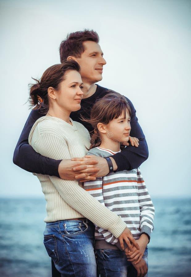 家庭夏天海滩假日 免版税库存照片