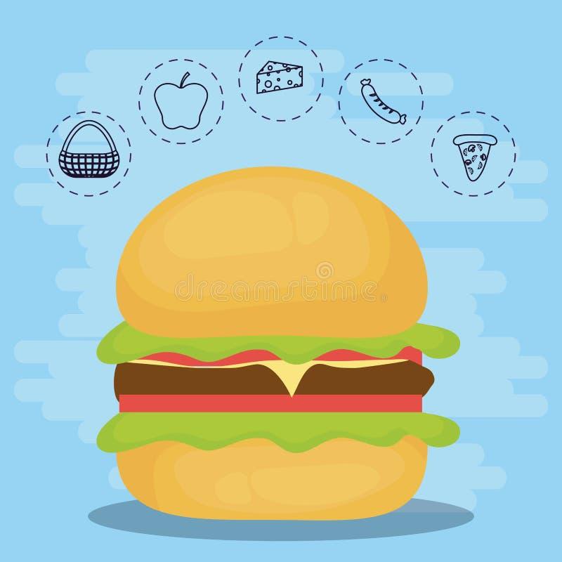 家庭夏天野餐的汉堡 库存例证