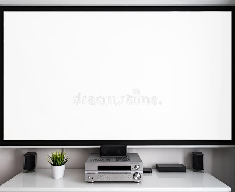 家庭多媒体中心设定在屋子里 库存图片