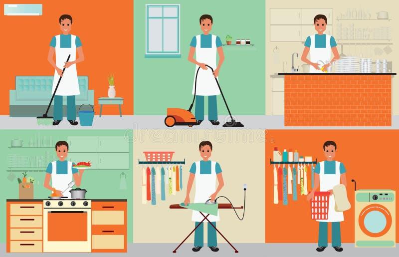 家庭妇男清洁 向量例证