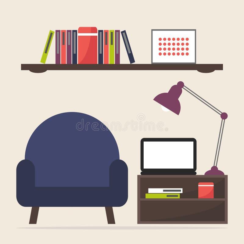 家庭工作和研究地方 向量例证
