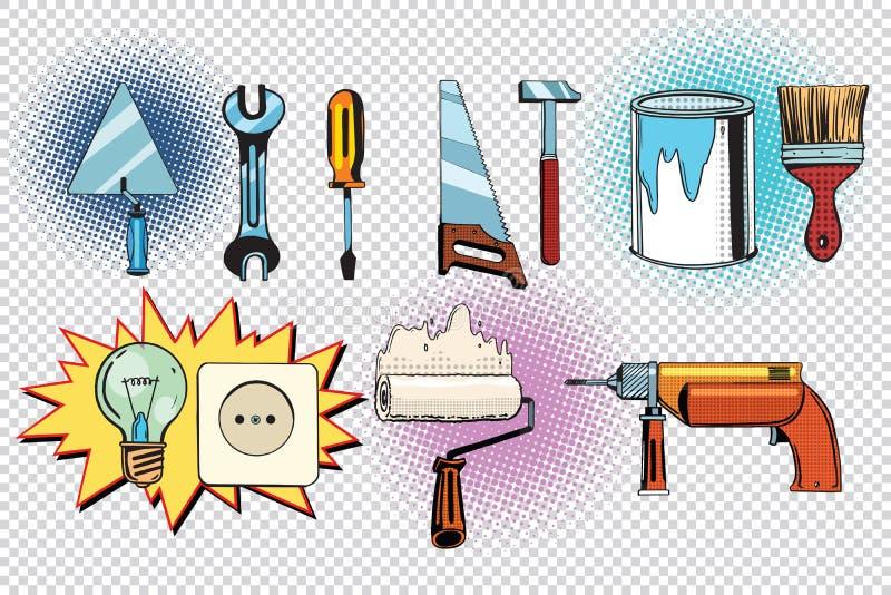 家庭工具和电学,流行艺术集合 库存例证