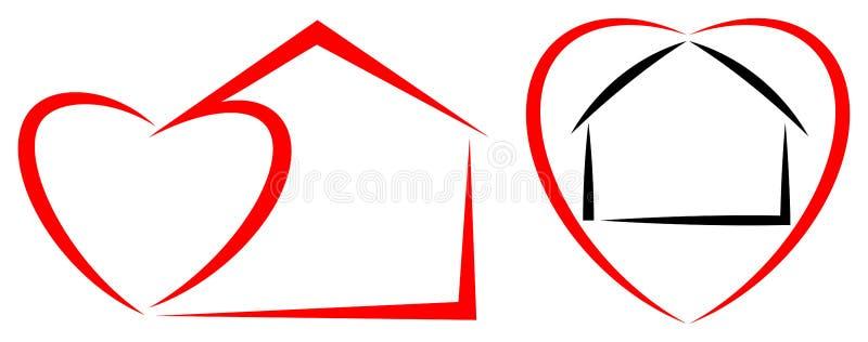 家庭心脏商标 库存例证