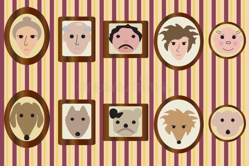家庭成员和他们的狗画象  库存例证