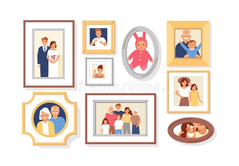家庭成员照片的汇集在框架的或亲戚和事件 捆绑被构筑的墙壁图片或照片 皇族释放例证