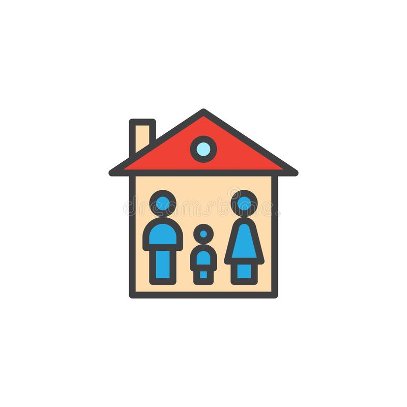 家庭房子被填装的概述象 皇族释放例证