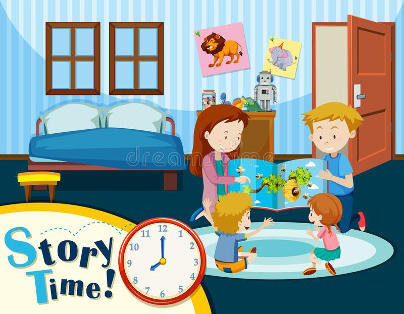 家庭故事时间场面 向量例证