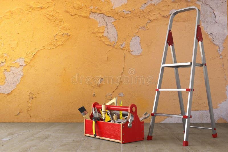 家庭整修和改善概念 梯子,工具箱与 皇族释放例证