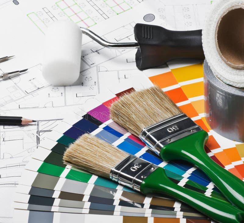 家庭整修的工具和辅助部件 库存图片