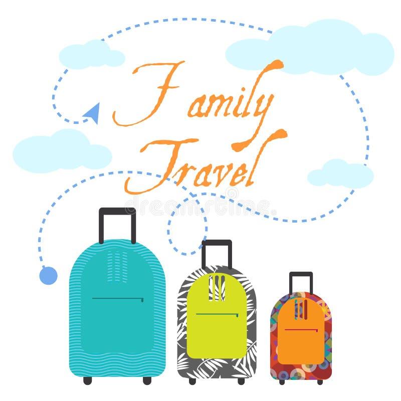 家庭旅行三手提箱 库存例证