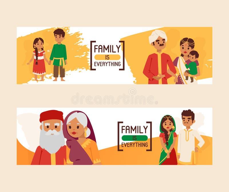 家庭是一切套横幅传染媒介例证 在全国礼服的大愉快的印度家庭 ?? 库存例证