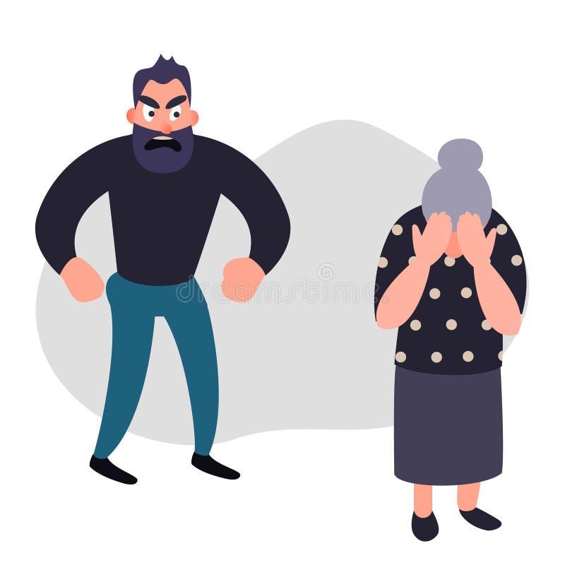 家庭暴力和侵略概念 在一名害怕的年长妇女的积极的人尖叫 资深女性哭泣盖她的面孔 库存例证