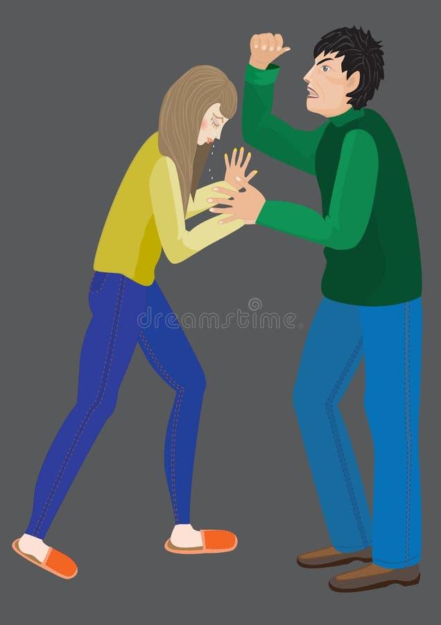 家庭暴力,家庭暴力 库存例证