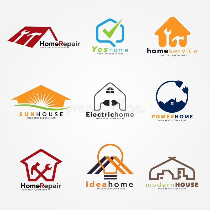 家庭服务和现代商标传染媒介集合艺术设计 库存例证