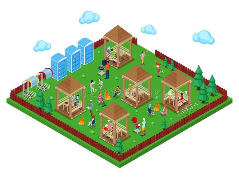 家庭格栅BBQ区域在有烹调肉和演奏体育的活跃人民的森林里 等量城市 向量例证