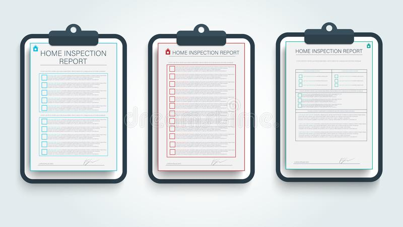 家庭检查报告 与颜色家检查报告的现代模板的横幅设计 家庭修理象 库存例证