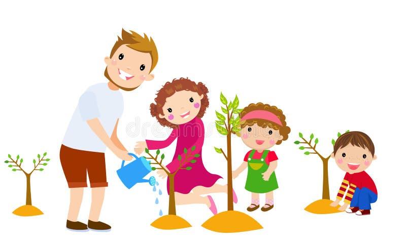 家庭植物树在公园 皇族释放例证