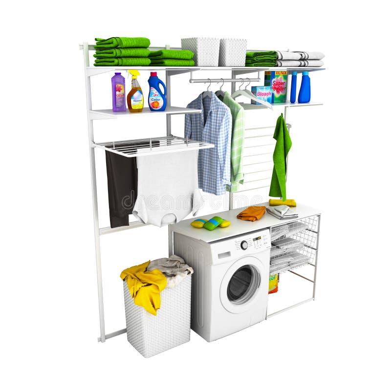 家庭洗衣店内部在白色背景的没有阴影3d 向量例证