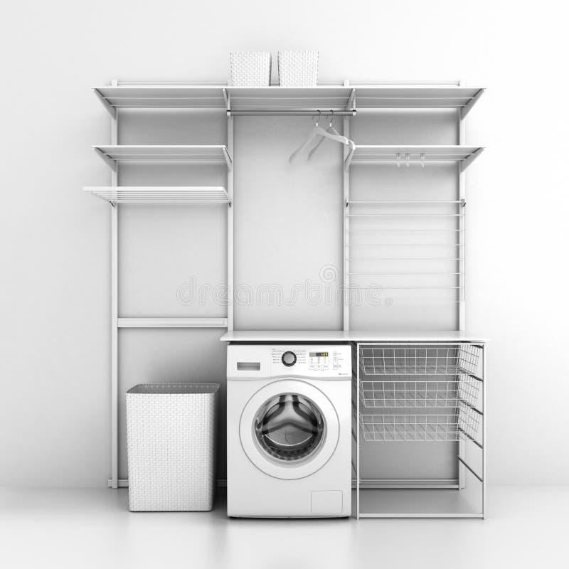 家庭洗衣店和在白色墙壁背景3d的空的架子内部与洗衣机的 向量例证