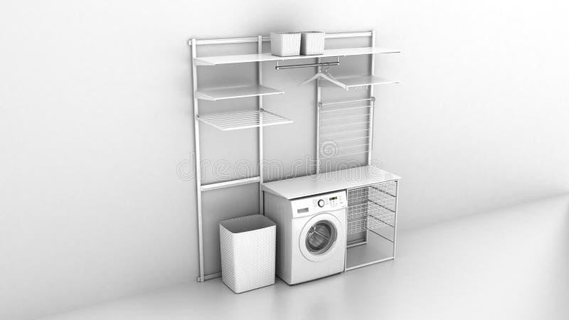 家庭洗衣店和在白色墙壁背景3d的空的架子内部与洗衣机的 皇族释放例证