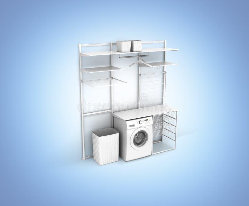 家庭洗衣店和在蓝色梯度背景3d的空的架子内部与洗衣机的 库存例证