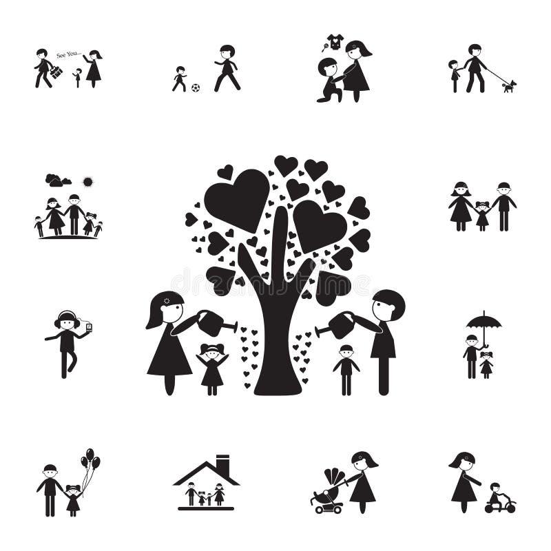 家庭浇灌了爱象树  详细的套家庭象 优质质量图形设计标志 一汇集 皇族释放例证