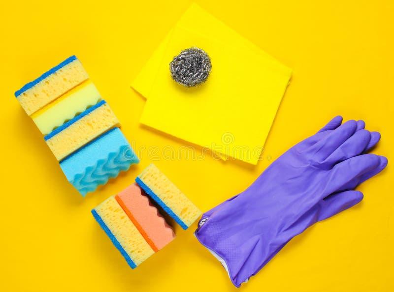 家庭清洗的成套工具 图库摄影