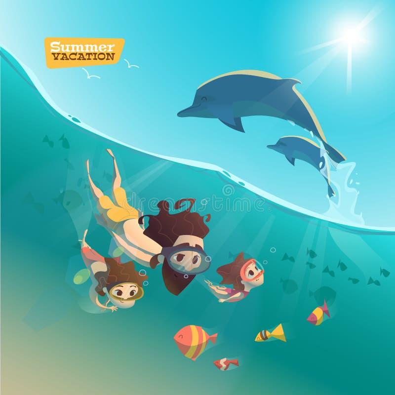 家庭游泳在海洋 向量例证