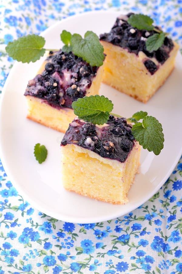 家庭焙制的柠檬蛋糕用蓝莓 免版税库存图片