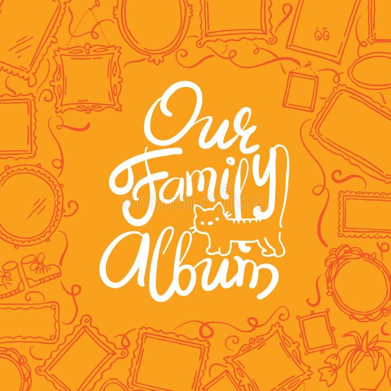 家庭照片册页盖子-画框和字法单图  皇族释放例证