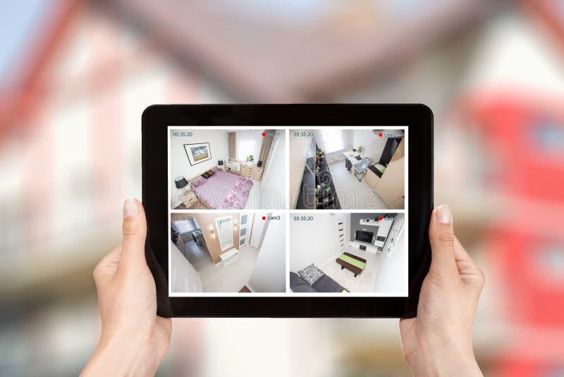 家庭照相机cctv监视显示器系统警报聪明的房子vid 库存照片