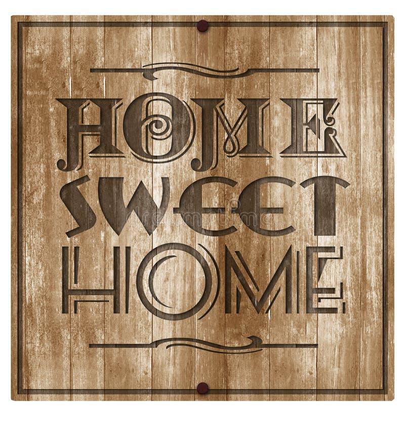 家庭甜家庭木头被刻记的匾标志 免版税图库摄影