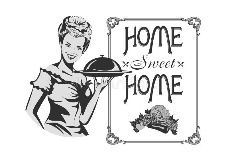 家庭甜点 与逗人喜爱的主妇的减速火箭的标志 也corel凹道例证向量 库存例证