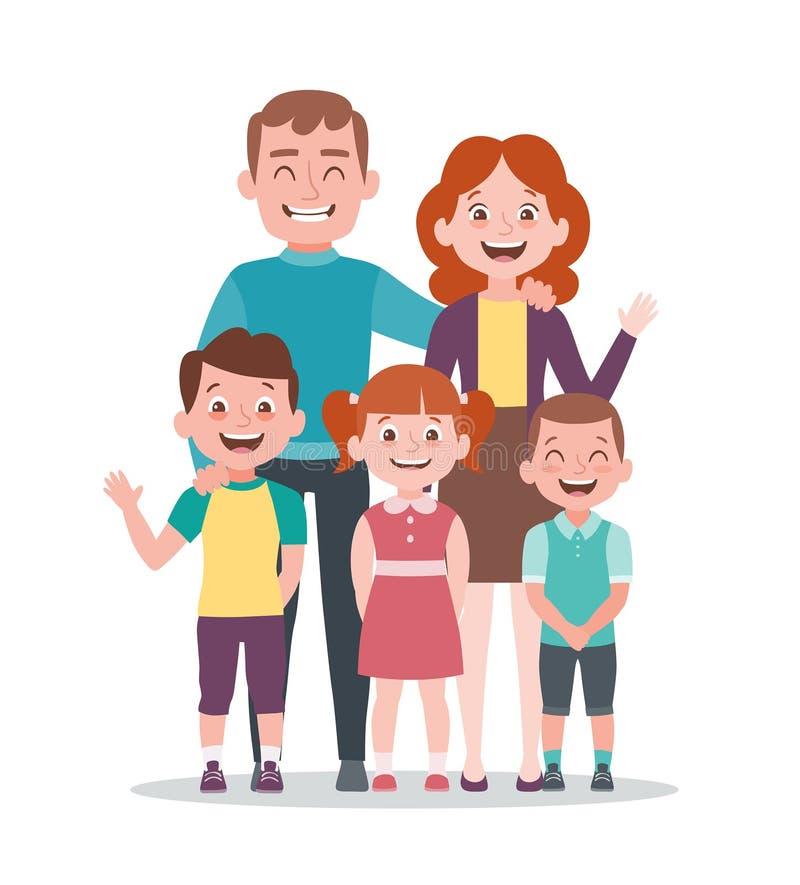 家庭画象传染媒介例证 有三个孩子的父母 向量例证