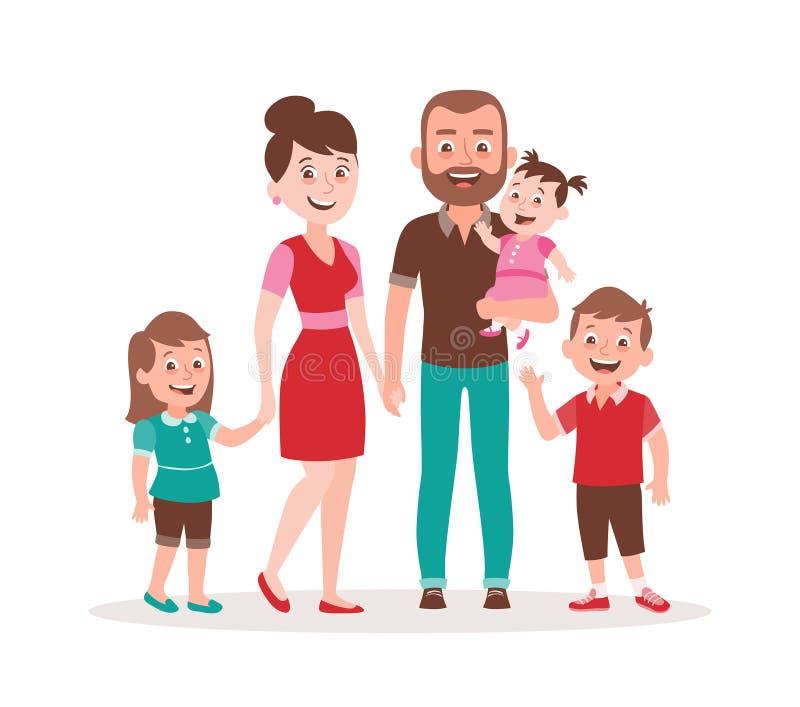 家庭画象传染媒介例证 父亲、母亲、两个孩子和婴孩 皇族释放例证