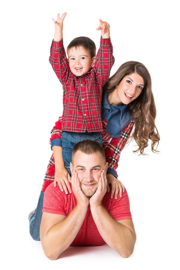 家庭画象,母亲父亲儿童男孩,白色背景 库存照片