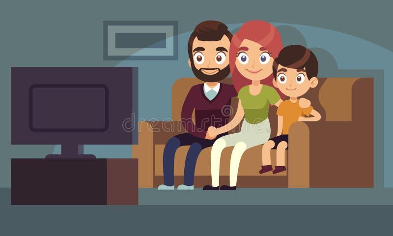 家庭看着电视 幸福家庭手表电视本级教室坐的长沙发妇女人孩子户内娱乐电视平展 库存例证