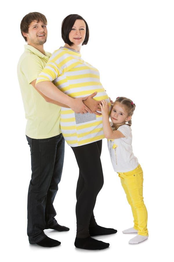 家庭等一个孩子 库存照片