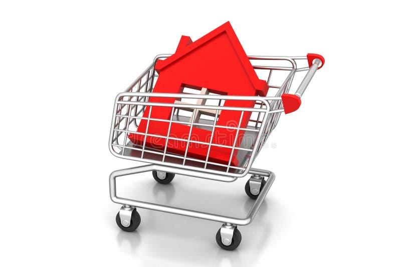 家庭签署购物的台车 向量例证