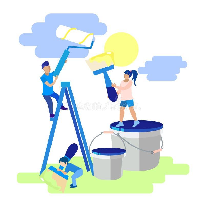 家庭维修与儿童隐喻漫画横幅 向量例证