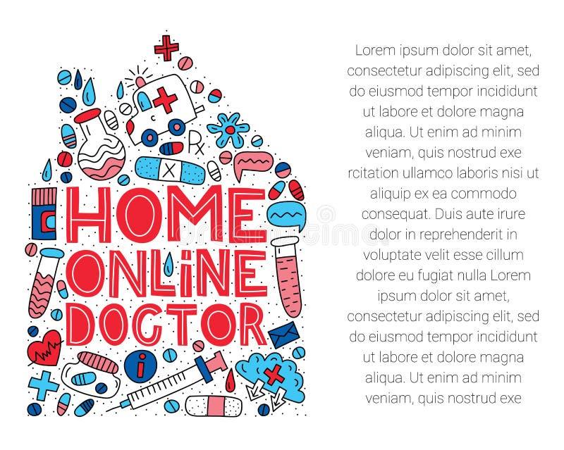 家庭网上医生 在上写字与在房子形状的乱画 免版税库存照片