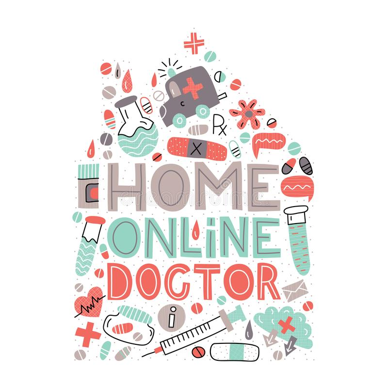家庭网上医生 现代平的传染媒介例证 免版税库存照片