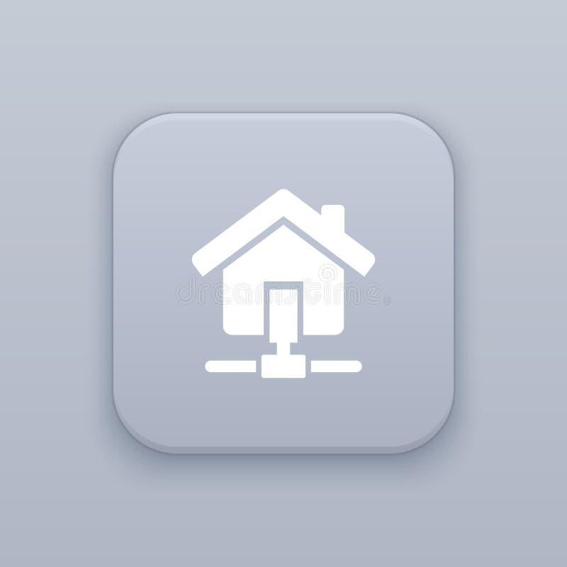 家庭网络,有白色象的通信灰色传染媒介按钮 库存例证