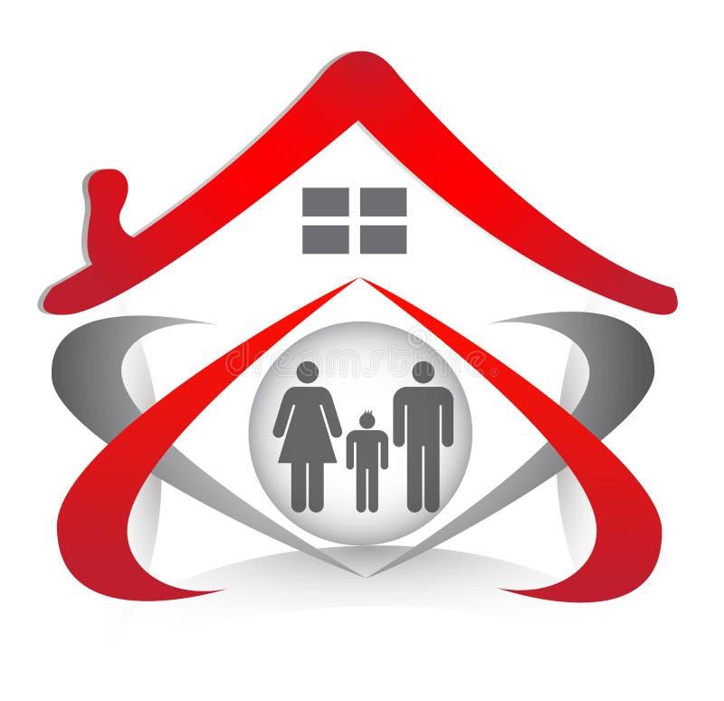 家庭联合和爱在心脏形状和房子商标 皇族释放例证