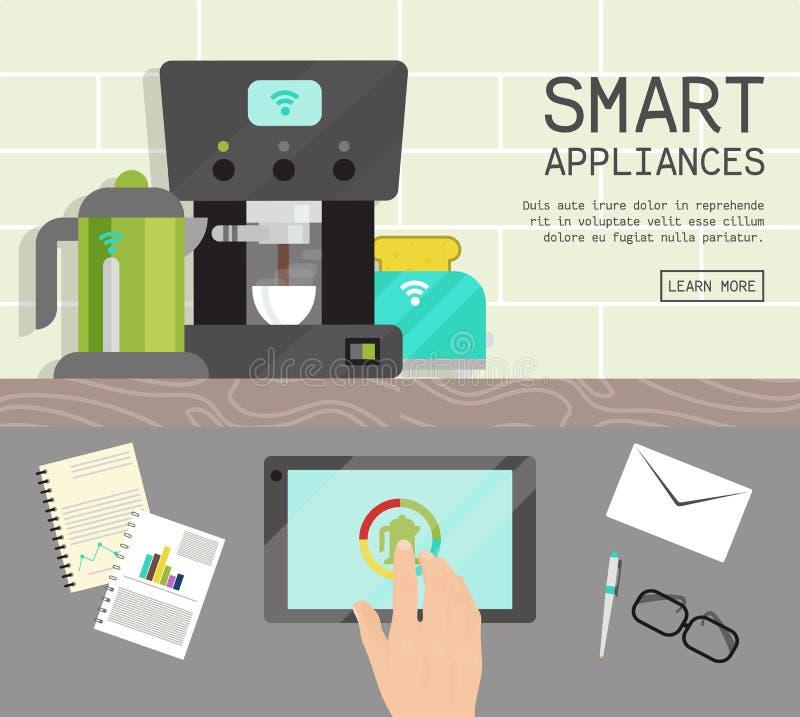 家庭聪明的装置遥控概念平的例证传染媒介 现代技术房子机器设备 向量例证